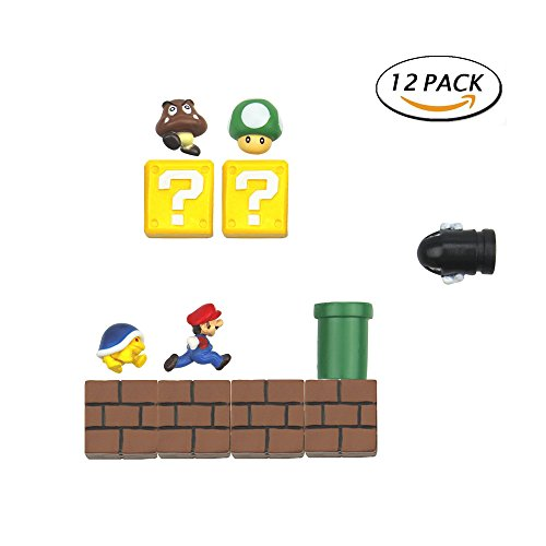 Fun Fridge Magnet (12 Packs Mario Fridge Magnets Set for Kids Fun Decorative Refrigerator Locker Magnets Kitchen School Office Inspired by Super Mario)