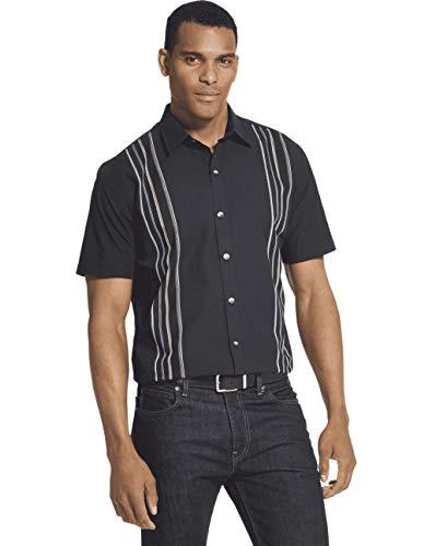 Van Heusen Men's Air Short Sleeve Button Down Panel Stripe Shirt, Black, X-Large