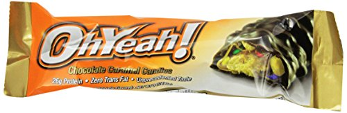 ISS Oh Yeah! High Protein Bar, Chocolate Caramel Candies, 3 Ounce, 12 Count
