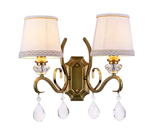 (Aiwen Crystal Wall Lamps Polished Brass with Cloth Made Lampshade Gold Metal Wall Lamp 2 Lights)