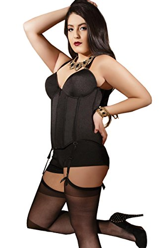 Lined Stretch Corset (Plus Size Lined Stretch Knit Bustier - 1X-2X - Black)