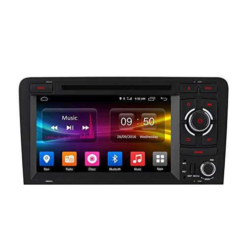 FEELDO 7'' inch Android 6.0 (64bit) DDR3 2G/32G/4G LTE Octa Core Car DVD GPS Radio Head Unit For Audi A3/S3(2003~2011) (F4) by FEELDO
