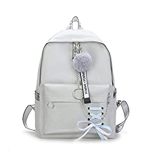 Solid Backpack Schoolbag High Student Bags Lace Bow Bundle Backpack for Teenage