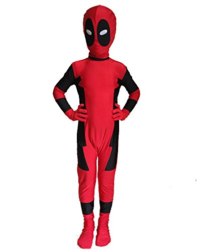 Deadpool Costumes Spandex (C2MOON Kids Deadpool Costume Full Bodysuit Spandex Jumpsuits Cosplay (Kids-Medium))