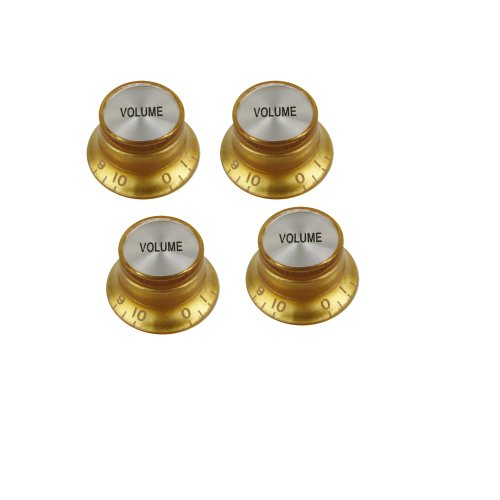 Musiclily Metric Size Plastic Bell Hat Style Speed Volume Control Knobs for Gibson LP Les Paul Electric Guitar, Gold (Pack of (Gold Bell Knobs)