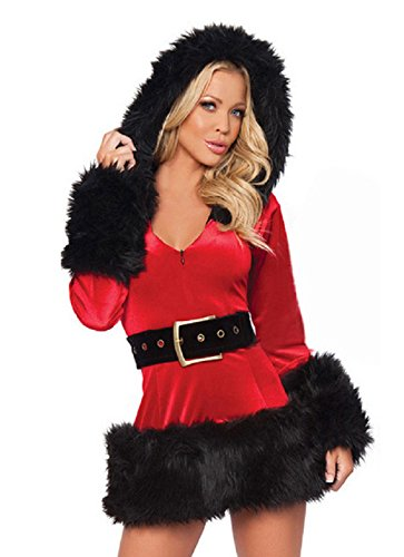 Costumes Mrs Little Santa (HOT Women Santa Costume Adult Miss Mrs Claus Cosplay Christmas Fancy Dress)