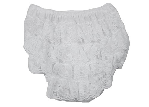 The Hair Bow Company Girls Baby & Toddler Layered Lace Diaper Cover Bloomers White Large for 18m-3y - Lace Bloomers Ruffled