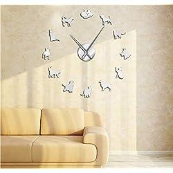 FANGMINGLEI Fangmingleilindo Gato Y Perro DIY Reloj De Pared Acrílico Registro Decoración del Hogar Arte De La Pared Reloj Regalo De Amante De Los Animales Veterinarios