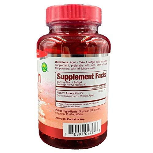 Natural Astaxanthin 15mg, Maximum Strength, 60 Softgels Supports Healthy Joint, Skin, Eye Function (2 Months Supply)