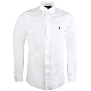9e3175a4dde Ralph Lauren - Chemise manches longues - Slim Fit - Homme - Blanc avec  cavalier noir