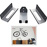 Bike Rack Wall Mount Hanger Cycle Pedal Hook Wheel Holders Garage Storage MTB Mounted Indoor Bicycle Brackets, 3 pieces Graphite Grey