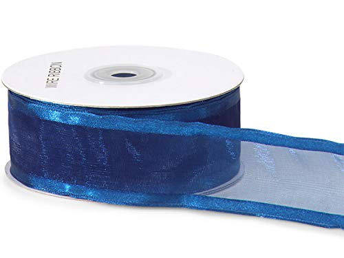 "Navy Wired Satin Edge Sheer 1-1/2""x25 yds 100% Nylon Ribbon (5 Spools) - WRAPS-19322"