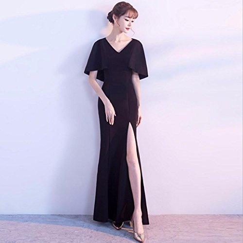 WBXAZL Vestido Elegante, Elegante Cena, Vestido de Noche Negro, V, Slim, Fishtail Anfitrión, Vestido. Black