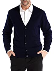 CHAUDER Kallspin Men's Relax Fit V-Neck Cardigan Sweater Cashmere Wool Blend Button Down with Pockets Navy Blue