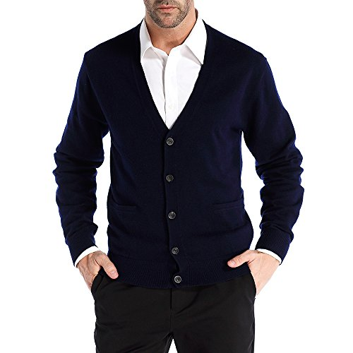 Kallspin Men's Relax Fit V-Neck Cardigan Cashmere Wool Blend Button Down with -