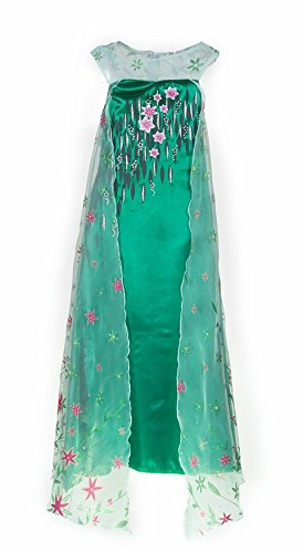 [HBB Girl Snow Princess Elsa Dress Costume with Long Glittering Flower Cape, SZ 3/4 Green] (Disney Elsa Costumes Dress)