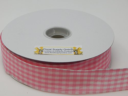 Pink Gingham Check Wired Edge Ribbon, 1.5