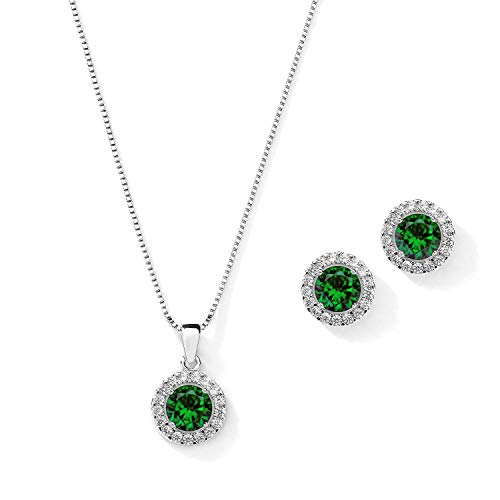 Mariell 10.5mm CZ Crystal Round Halo Wedding Necklace Jewelry Set for Brides & Bridesmaids - Emerald - Emerald Vintage Jewelry Set