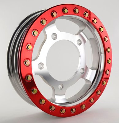 PREMIUM 15 X 4'' FORGED BEADLOCK RIM, 5 On 205mm. Red Beadlock by Appletree Automotive (Image #1)
