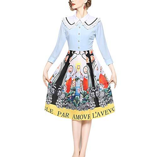 Vintage Botón Plisada De Vestido Patchwork Con Mujer Encaje 4 Blue Floral Manga 3 Solapa RT6Tx
