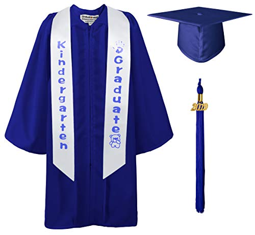 - GraduationMall Matte Kindergarten Graduation Gown Cap Sash Package with 2019 Tassel Royal Blue 30(3'9
