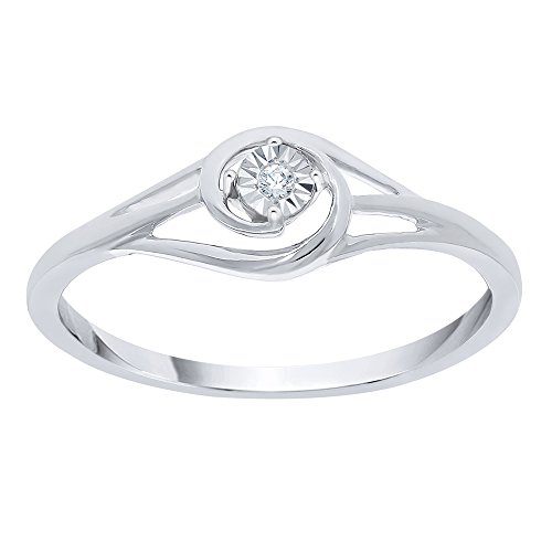 Diamond Accent Promise Ring in Sterling Silver (I-Color, SI3-I1 Clarity) (Size-10.75) by KATARINA