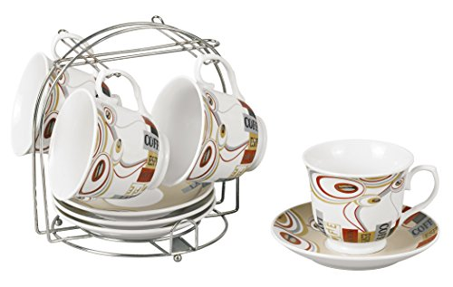 Lorren Home Trends 9-Piece Tea/Coffee Set with Iron Stand, Coffee Design, Brown, Red and ()