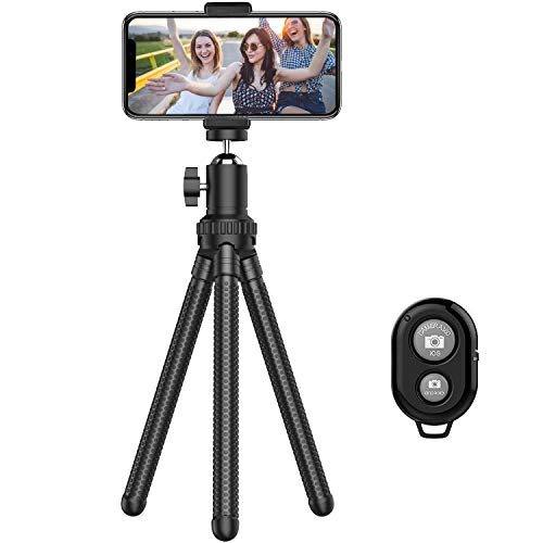 Phone Tripod, Portable Cell Phone Camera Tripod Stand with Wireless Remote, Flexible Tripod Stand for Selfies/Vlogging…