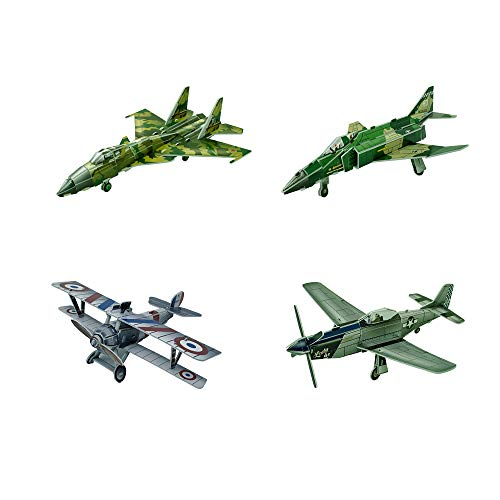 3D Puzzle Fighter Jets [4 Sets of Airplanes] P-51D Mustang Nieuport 17 Sukhoi 37 F-4 Mig Dogfight Toy Models for Kids, Boys or Girls - No Glue or Scissors - Great Gift or Birthdays