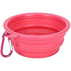 wonderflowers New Collapsible Pet Cat Dog Dish Water Feeder Silicone Travel Feeding Bowl Free Carabiner Pink Color