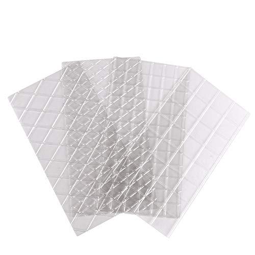 Yu2d  4pcs Grid Transparent Stencil Texture Mat Cake Border Decorating Tool Cake Mold (Clear) -