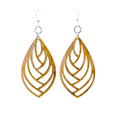 Green Tree Jewelry Embraced Teardrop Laser Cut Bamboo Earrings ()