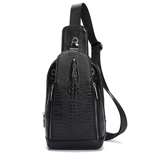 Shoulder Sling Pack Black Messenger Leather Grain Crocodile Geunine Bag Chest Men SOFg6
