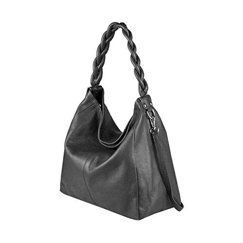 OBC Made in Italy XXL Auténtico Cuero DIN-A4 Shopper 2 en 1 Bolso de Asas + Bolso de Joyas Bolsa Bandolera 50x34x16 cm Negro