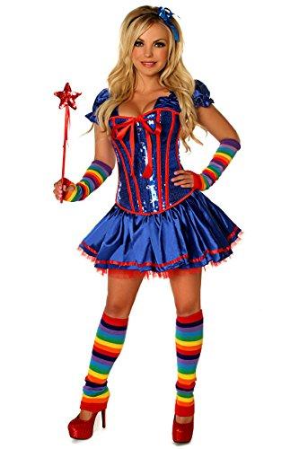 Daisy corsets Women's 6 Piece Sexy Rainbow Girl Premium Corset Costume, Blue, (Rainbow Brite Costume Kids)