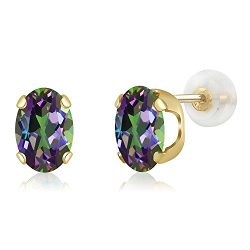 14K Yellow Gold Green Mystic Topaz Women's Stud Earrings (1.60 cttw, Oval 7X5MM)