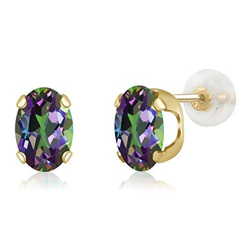 - 14K Yellow Gold Green Mystic Topaz Women's Stud Earrings (1.60 cttw, Oval 7X5MM)