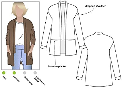 Amazon Style Arc Sewing Pattern Coral Cardigan Sizes 04 16