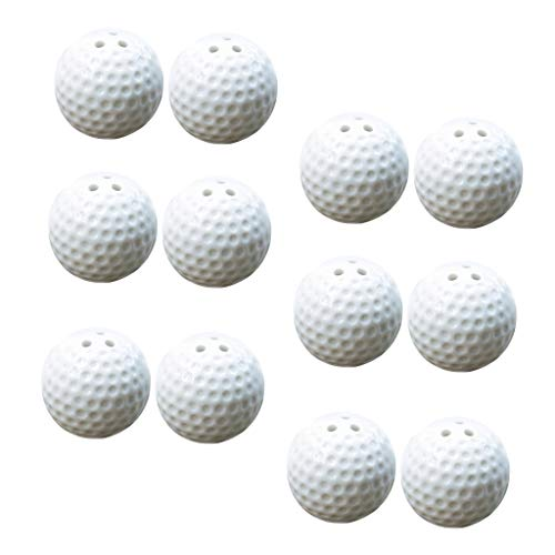 Flameer 12 Pieces Ceramic Golf Ball Shaped Salt and Pepper Shaker, Home Kitchen Spices Container Spice Jars Set with Holes for Wedding Favors ()