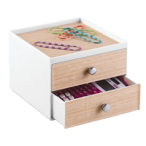 InterDesign RealWood Cosmetic Organizer for Vanity Cabinet to Hold Makeup, Beauty Products - 2 Drawers, White/Light Wood Finish by InterDesign (Image #4)