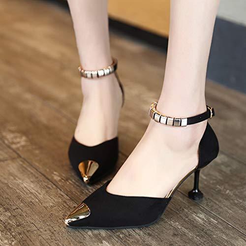 Sexy Boucle Hauteur Escarpins Cheville Aiguille Sandales Soirée Cm 8 De Femme En Solike Talon 34 Club Mariage Chaussures Noir 39eu x0gPFR0wq