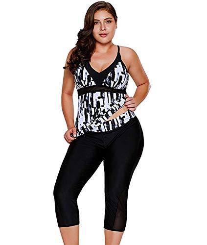 LALAGEN Women's Plus Size Rash Guard Capris Tankini Athletic Swimwear Black XXL-1 (Plus Size Womens Rash Guard Swim Shirts)