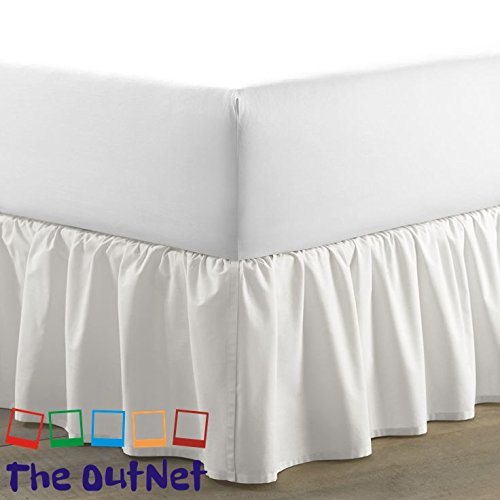 TheOutNet Collection Egyptian Cotton 750TC 1 Piece Single Ruffle Bed Skirt Twin XL Size 11'' Inch Drop Length White - Drop Twin White 11'