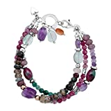 Silpada 'Sea Glass' 19 1/3 ct Natural Multi-Stone Two-Strand Bead Bracelet in Sterling Silver