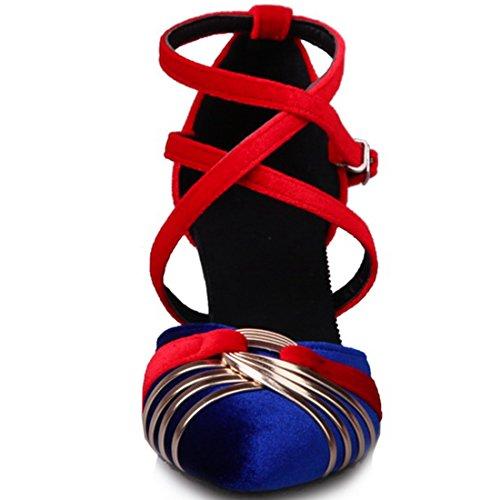 YE Women's Pointed Toe Kitten Heels Crisscross Strappy Court Shoes Ladies Dress Shoes Blue rOSH2X