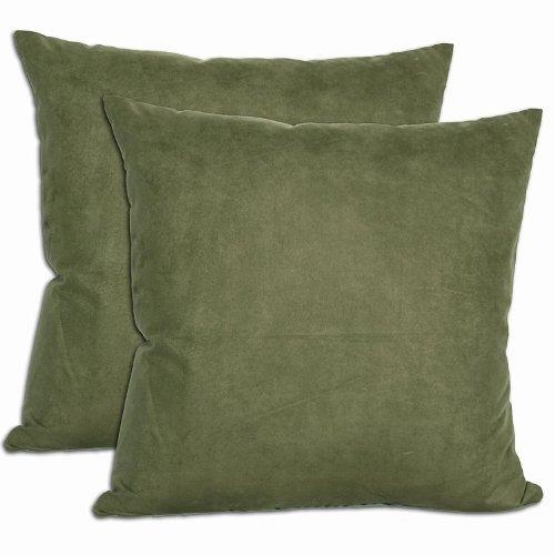 Amazon.com: Verde microsuede cojines (Conjunto de 2 ...