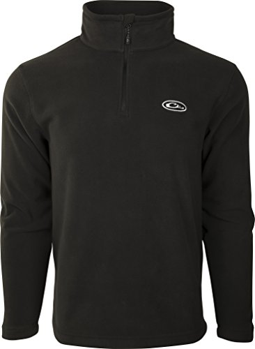 Drake Camp Fleece  Black Pullover 1/4 Zip, Large