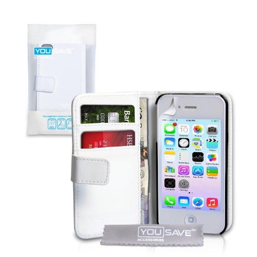 Hardcover-Schutzhülle, für iPhone 4/4S (aus Kunstleder, mit Kartenfächern, Weiß