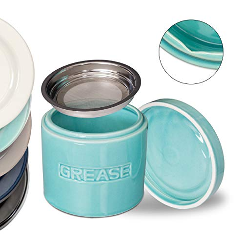 MINT GREEN Bacon Grease Oil Container Storage Can Keeper w/Stainless Strainer Pour Spout Ceramic Porcelain Stoneware Fat Separator Filter Multiple Colors