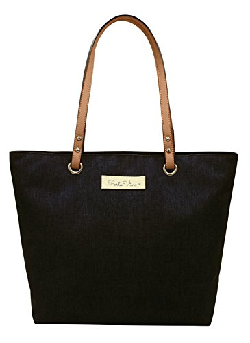 PortoVino City Tote Black - Wine Purse - Pour 2 bottles Wine from Hidden Insulated Pocket,Original fashionable/functional wine purse with inside lining, Everyday purse and/or beverage purse. (Black Wine Bottle)